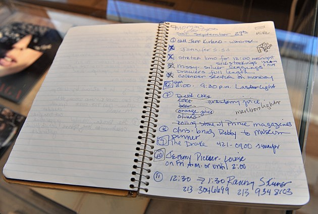 """An original Madonna handwriten 1990 """"to do"""" diary is displayed at the Gotta Have It!'s Rock & Roll Pop Culture Auction"""